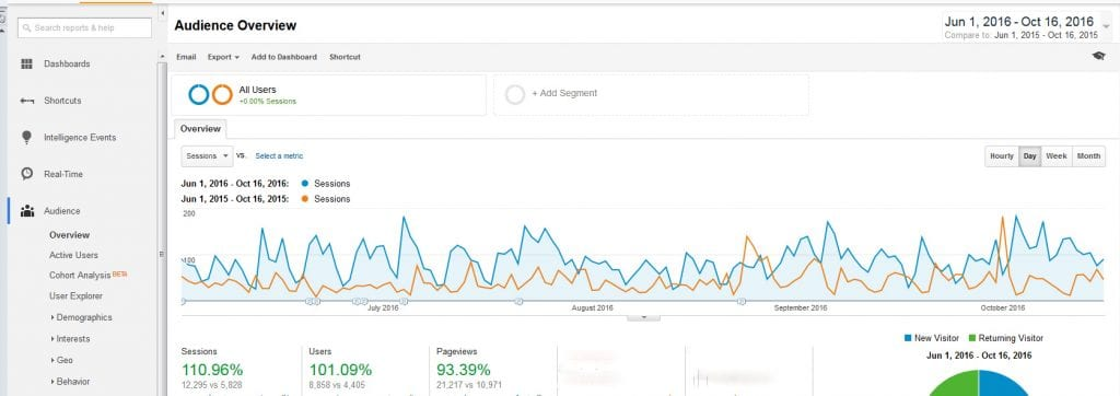 Rise in Google Analytics for SR Nutrition